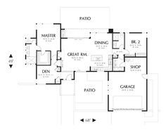 Main Floor Plan of Mascord Plan 1163A - The Queensbury - Flat Roof Modern Version of Plan 1163