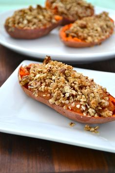Twice Baked Yams with Oat Streusel Topping -  great #glutenfree side dish for #thanksgiving