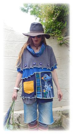 Folk Bird Upcycled Tee Short Sleeve Jumper Hippie Tshirt Blue Checked Unique Boho Eco Friendly Recycled Wearable Art OOAK. Large / X-Large