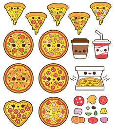 Clipart and more. Cute Food Drawings, Cute Kawaii Drawings, Easy Drawings, Pizza Drawings, Griffonnages Kawaii, Arte Do Kawaii, Kawaii Anime, Kawaii Stickers, Cute Stickers