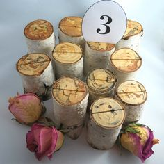 Rustic Table Number Holders Wedding Table Decor by texturemix
