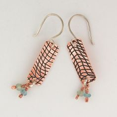 $33 - Copper Beach Earrings - Copper with apatite and chalcedony dangles - Maggie Connolly Designs