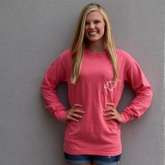 Watermelon Spiral Long Sleeve Pocket Tee - Shelly Cove *Portion of each sale goes directly to seaturtlehospital.org*