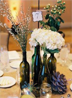 Centre de table bouteille de vin
