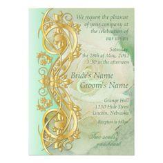 Elegant Scroll Wedding Invitation - Mint Green 2B
