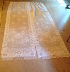 """Check out FREE SHIPPING..Two Identical,Long French Door Panel, Country Curtains. Filet lace with fringed bottom edge. Excellent condition. Length 84"""" on fleursenfrance"""