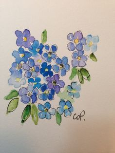 Forget-me-knots Watercolor Card by gardenblooms on Etsy