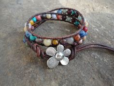 JustHipStuff Gemstone  Beaded Leather Wrap by justhipstuff on Etsy, $28.99