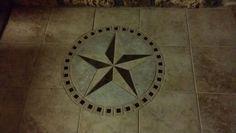 Clint's Custom Texas Star Tile Inlay Texas Kitchen, Texas Star, Entry Foyer, Beautiful Homes, Entrance, Kitchen Island, Home Improvement, Tile, Decorating Ideas