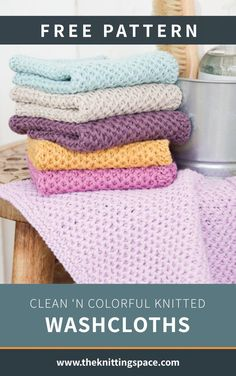 Clean 'N Colorful Knitted Washcloths [FREE Knitting Pattern]Thanks calliwirsch for this post.Craft these handy knitted textured washcloths, a great zero-waste alternative to plastic shower poufs. Ideal for your guest bedroom or for a DIY spa # Clean Knitted Dishcloth Patterns Free, Knitted Washcloths, Crochet Dishcloths, Knitting Patterns Free, Crochet Pattern, Crochet Granny, Stitch Patterns, Knitting Designs, Knitting Projects