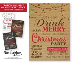 Christmas Party Invitation Eat Drink and Be Merry by NineEighteen #ChristmasParty #EatDrinkBeMerry #JingleMingle #Personalized #Christmas2016 #MerryAndBright #etsy #PrintableInvitation #NineEighteen #NineEighteenHolidays