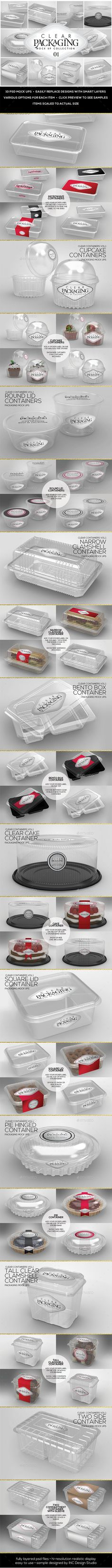 Clear Packaging MockUps 01 by incybautista Volume 1: Clear Plastic Food Containers Packaging Mock Up Collection10 Plastic Container Mock Ups in various shapes and sizes—per