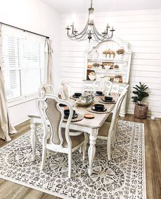 Designed by @modernfarmfam Decor, Beautiful Homes, Farmhouse Dining Table, Home Decor, Rugs, Rugs And Carpet, Farmhouse Plans, Area Rugs, Farmhouse Fall Decor
