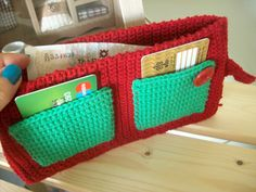 Chinatown crocheted wallet, purse, red and green, cross stitch, red button.