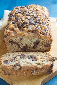 Banana bread with chocolate chips. Sweet baby Jesus, this looks delish!