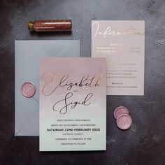Elizabeth + Sigid || Dusty pink ombré with rose gold foil, blush details card and pretty personalised wax seals 💗✨ Foil Wedding Invitations, Pink Invitations, Invites, Dusty Rose, Dusty Pink, Blush Pink, Polka Dot Paper, Church Ceremony, Rose Gold Foil