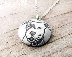 Smiling Pit Bull necklace - silver dog jewelry pit bull pendant on Etsy, $40.00
