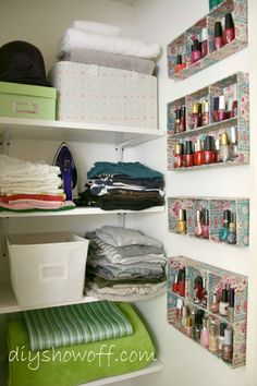 "Nail Polish Storage/Organization Idea—Not sure if these are handmade or drawer dividers mounted on their sides, but either way—brilliant!   |   Post: ""DIY Show Off – Dressing Room/Guest Bedroom Reveal"" by Roeshel on Jan. 1, 2012 via diyshowoff.com"