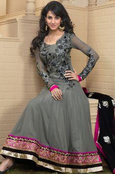 #Grey Faux Georgette #Churidar Anarkali #Suit | @ $125