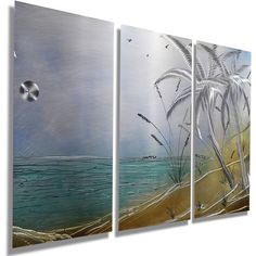 New Nautical Metal Artwork Modern Metal Painting Beach Decor Wall... ($300) ❤ liked on Polyvore featuring home, home decor, wall art, grey, home & living, home décor, wall décor, wall hangings, motivational wall art and metal panels