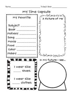 FREEBIE Time Capsule worksheet for your kids to complete