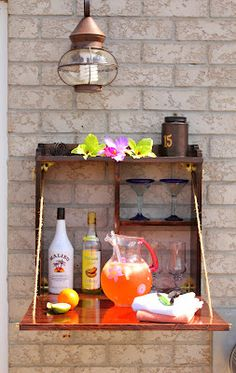 Build a simple hideaway bar for  entertaining outdoors