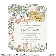 Whimsical Greenery Woodland Animals Baby Shower Invitation Gender Reveal Invitations, Baby Shower Invitations, Custom Invitations, Woodland Creatures, Woodland Animals, Woodland Forest, Forest Animals, Lollipop Party, Baby Sprinkle