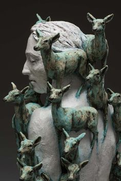 Montana-based ceramic sculptor Adrian Arleo crafts surreal figures and hybrid creatures. Toying with scale and texture, Arleo subverts the nature of familiar beings from our world. The result are w… Ceramic Sculpture Figurative, Sculpture Clay, Bronze Sculpture, Sculpture Projects, Sculpture Ideas, Ceramic Figures, Ceramic Art, Weird Creatures, Magazine Art