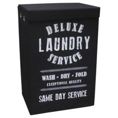 Jute Fabric Deluxe Service Laundry Hamper Black