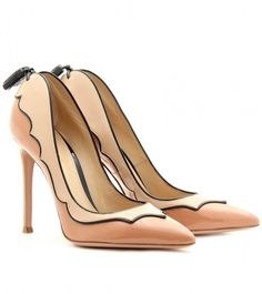 Gianvito Rossi ~ Patent Leather Pumps with Scalloped Trim