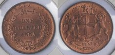 AN OUT OF THE ORDINARY CROSS FLAG @INDIAN COIN MINTED BY #EAST INDIA COMPANY ISSUED IN @1853