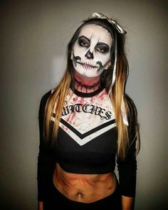 Halloween  makeup, skull, cherleader, blood, dead, make up, halloweenmakeupideas, witches, zombie, girl , costume , halloween costume 👻👻👻