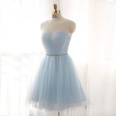 Light Blue Prom Dress,Lovely Cute Prom Dress,Short Prom Gown by fancygirldress…