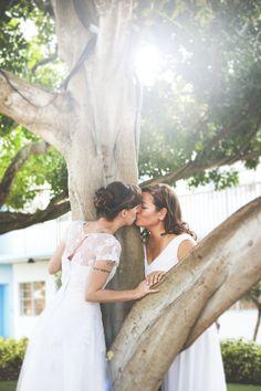 super cute lesbian wedding portrait