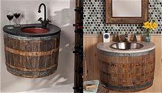 Viejos barriles de vino convertidos en lavabos