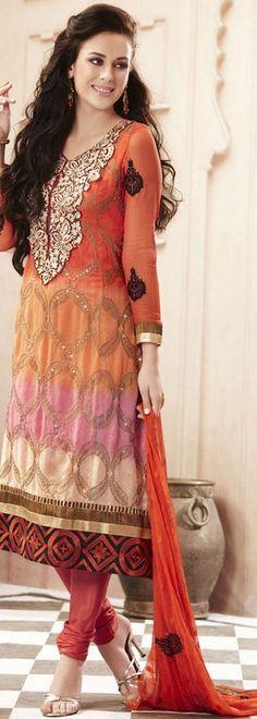 $105.53 Orange Full Sleeve Faux Georgette Long Churidar Suit 19734