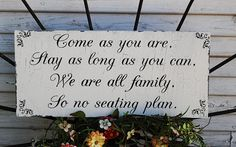 Great way to greet your wedding guests when no seating plan!