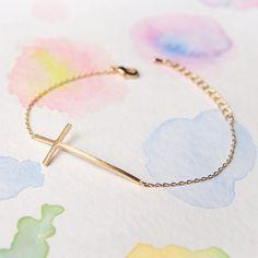 Simple Delicate Sideways Gold Cross Bracelet
