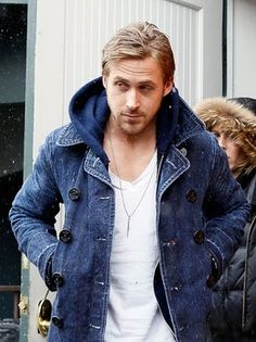 Only #Ryan can pull off a denim peacoat.  Oh and obligatory Rawrrrr!
