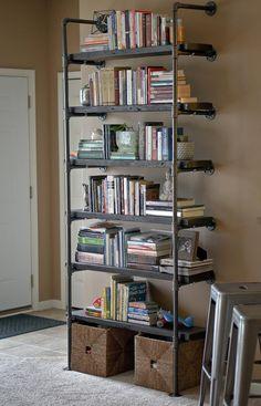 Reclaimed Wood Furniture, Industrial Furniture, Furniture Decor, Refurbished Furniture, Furniture Online, Vintage Furniture, Furniture Design, Pipe Bookshelf, Wood Bookshelves