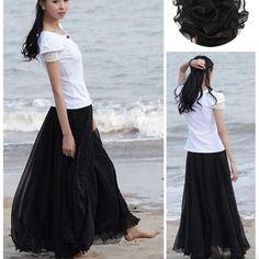 Bohemian Flared Pleated Pure Color Slim Floor Maxi Skirt