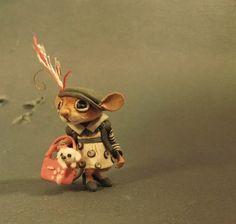 Aleah Klay Studio: Miniature Mouse w/ pet dog in bag one of a kind sc...