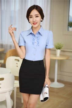 94d6d1119079 New Elegant Rose Fashion Slim Uniforms Female Office Suits Blouses And Skirt  2015 Summer Short Sleeve