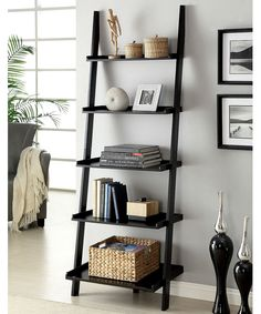 Snuggle this Furniture of America Merill Ladder Shelf into any corner to maximize space and create visual drama. This handsome ladder shelf. Leaning Bookcase, Shelves, Ladder Shelf Decor, Bookshelf Design, Living Room Decor, Home Decor, Shelf Decor, Room Decor, Furniture Of America