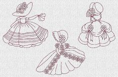 Free Embroidery Sunbonnet Sue Pattern | Sunbonnet Sue Down South Redwork Machine Embroidery Designs ...
