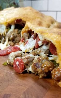 This Meat Lovers Gameday Calzone has all the fixings of a cheesy supreme pizza in a Football Calzone form. Fun to make and even more fun to eat! Perfect for a Super Bowl party or any gameday! Recipe for Meat Lovers Gameday Calzone Meat Recipes, Appetizer Recipes, Cooking Recipes, Meat Appetizers, Recipies, Sushi Recipes, Super Bowl Party, Italian Dishes, Italian Recipes