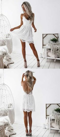 White lace homecoming dress, short prom dress,sexy homecoming dress with bandage, spaghetti straps homecoming dresses,backless homecoming dress short