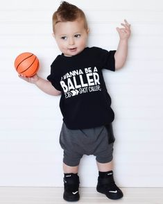 Trendy boy clothes, hipster baby clothes, wanna be a baller shot caller, boys shirts, cute boys clothes, boys clothing, trendy kids shirt