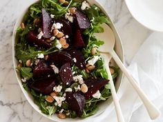 Ina Garten dresses up her Balsamic-Roasted Brussels Sprouts with pancetta for an easy recipe from Barefoot Contessa on Food Network. Beet And Goat Cheese, Goat Cheese Recipes, Goat Cheese Salad, Blue Cheese, Roasted Beet Salad, Beet Salad Recipes, Carrot Salad, Smoothie Recipes, Soup Recipes