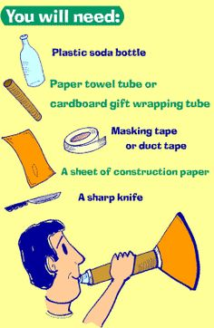 Make your own trumpet at home. Paint yourself blue. Call yourself a Blue Man. (click thru for instructions) This could work for a simple trumpet! Music Instruments Diy, Instrument Craft, Homemade Musical Instruments, Brass Instrument, Preschool Music, Music Activities, Teaching Music, Activities For Kids, Music Crafts